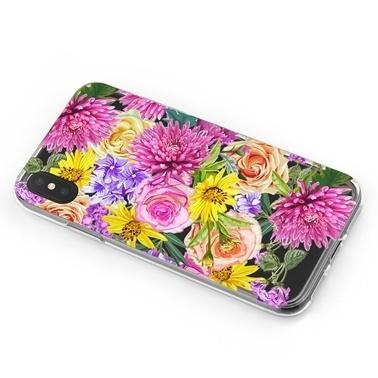 Lopard iPhone Xs Max Kılıf Silikon Arka Koruma Kapak Çiçek Buketi Desenli Renkli